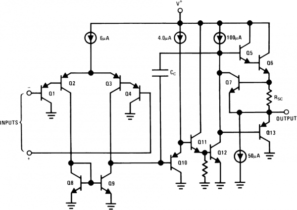 the internals of an lm358 operational amplifier.